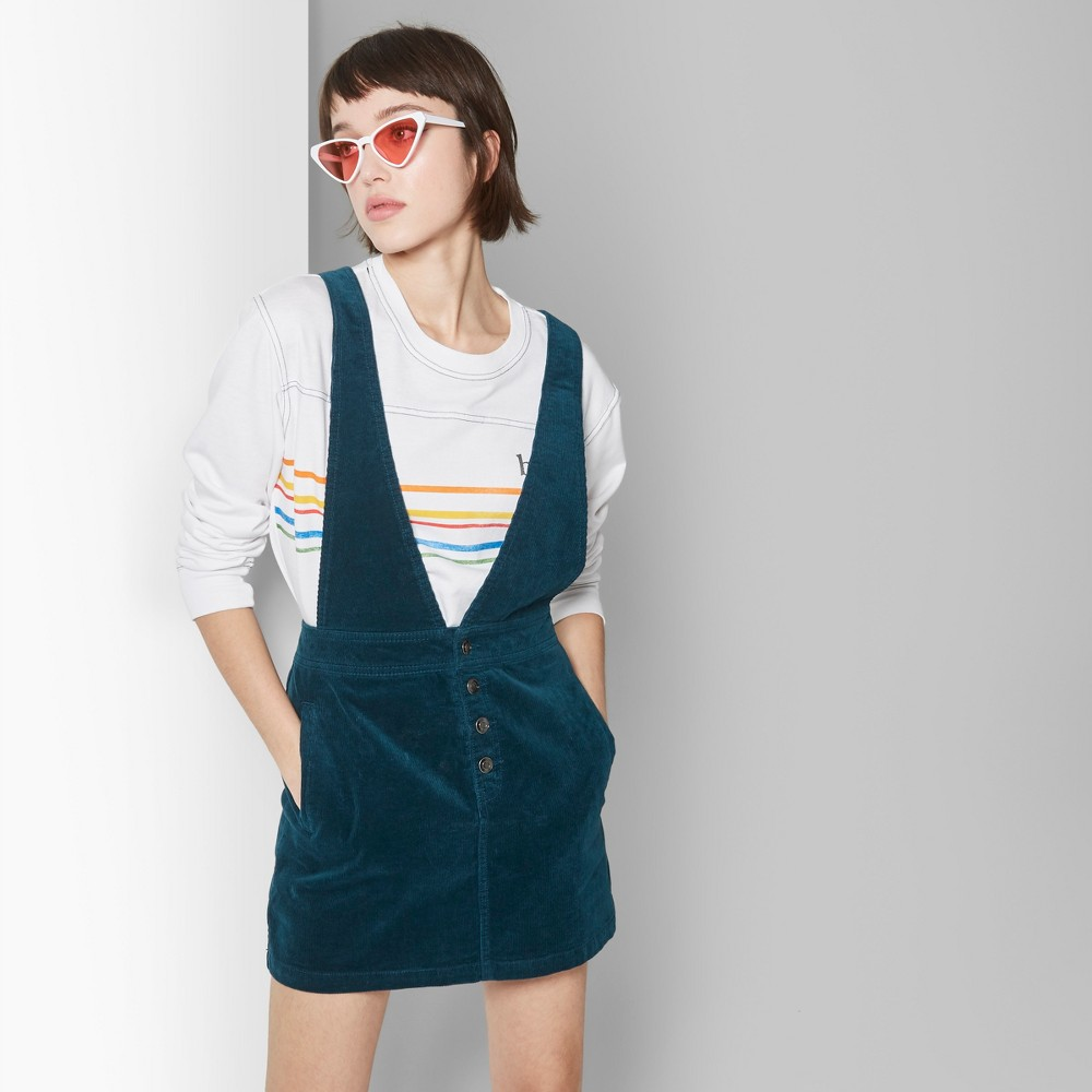 Women's Corduroy Pinafore - Wild Fable Teal XL, Blue