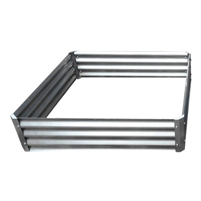 """10.25"""" Square Galvanized Steel Garden Bed Silver - Backyard Expressions"""