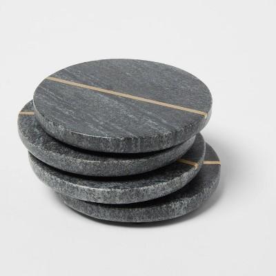 4pk Marble Coasters Gray - Threshold™