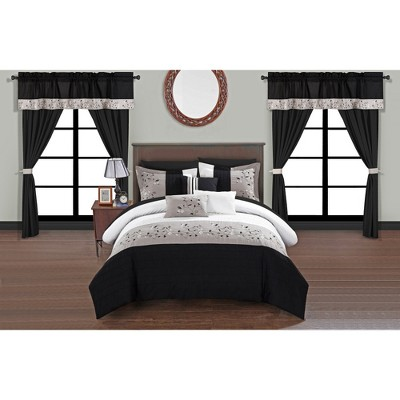 Queen 20pc Sonjae Bed In A Bag Comforter Set Black - Chic Home