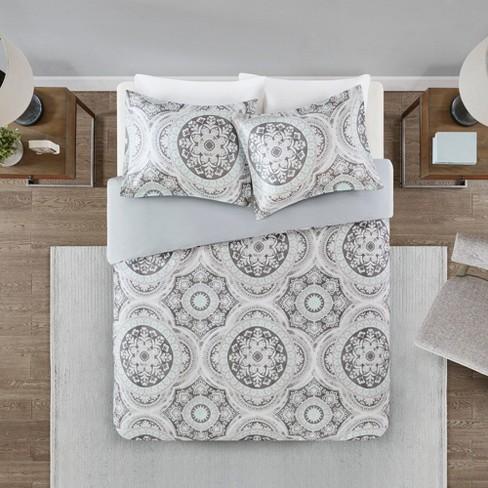 3pc Von Cotton Medallion Print Duvet Cover Set Gray Target