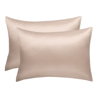 "2 Pcs 20""x26"" Silk Satin Envelope Pillow Cases Light Tan - PiccoCasa"