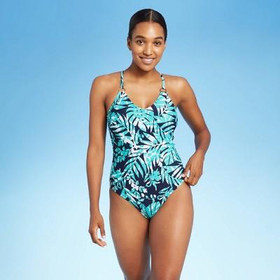 Women's Ring Detail Loop Back Palm Modern One Piece Swimsuit - Kona Sol™ Blue