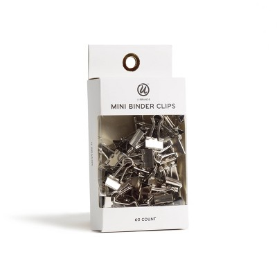 60ct Mini Binder Clips Silver - UBrands