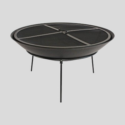 Round Cast Iron Elevated Fire Pit - Black - Project 62™