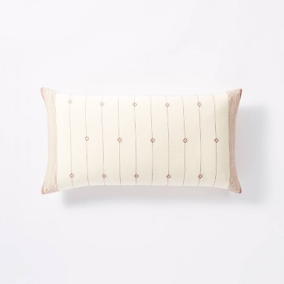 Lumbar Dobby Striped Throw Pillow Cream/Rust - Threshold™ designed with Studio McGee