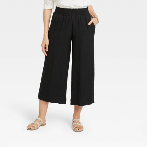 Women's High-Rise Cropped Wide Leg Pull-On Pants - A New Day™ - image 1 of 3