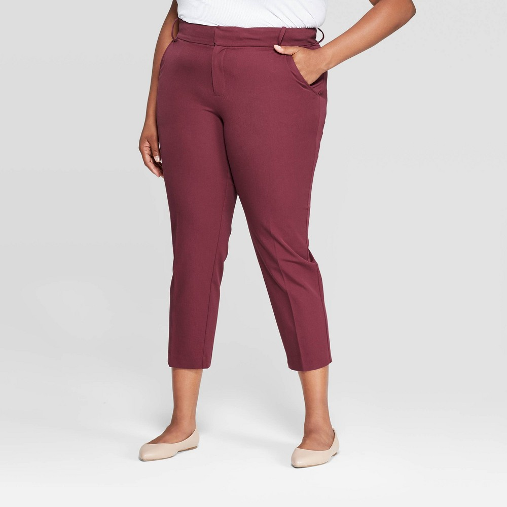 Image of Women's Plus Size Ankle Pants With Comfort Waistband - Ava & Viv Burgundy 28W, Red