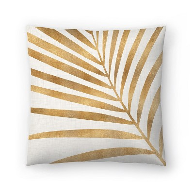 Americanflat Gold Palm Leaf by Modern Tropical Throw Pillow