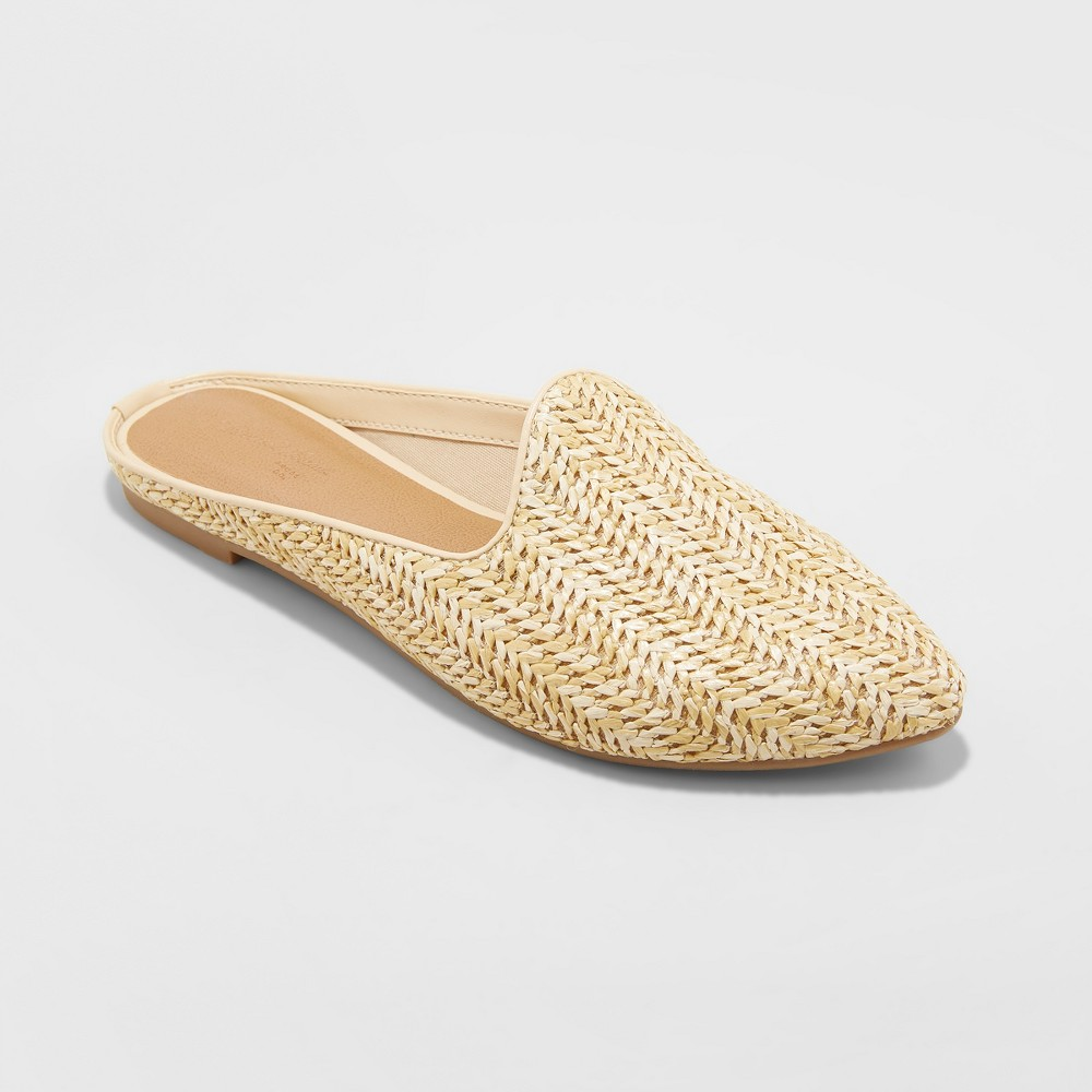 Women's Violet Woven Backless Mules - Universal Thread Tan 8.5