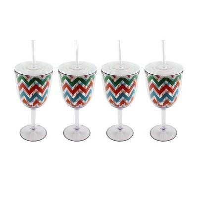 BergHOFF CookNCo 13 Oz Acrylic Wine Glass, Chevron Pattern, Set of 4