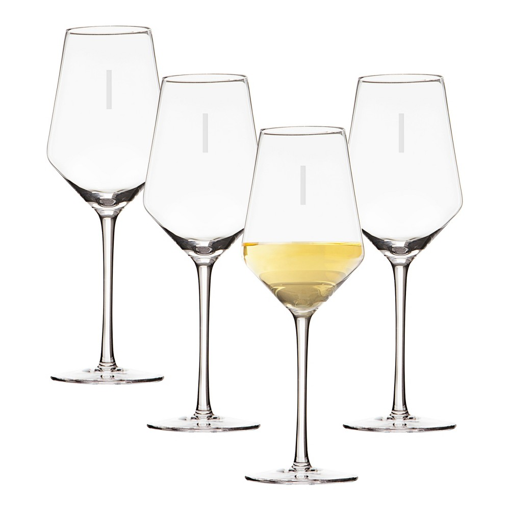Image of 14oz 4pk Monogram Estate White Wine Glasses I - Cathy's Concepts, Clear