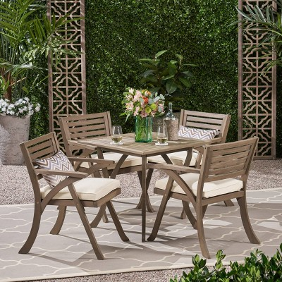 Hermosa 5pc Acacia Wood Square Dining Set Gray/Cream - Christopher Knight Home