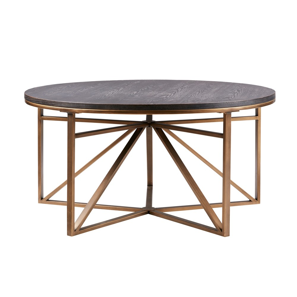 Update your living room decor with the Mankato Coffee Table. This mid-century inspired table features an ash veneer table top in ebony finish. The geometric metal frame base is in a antique bronze finish. The color combination brings out the overall contrast of the table making it the perfect center piece. Leg assembly required.