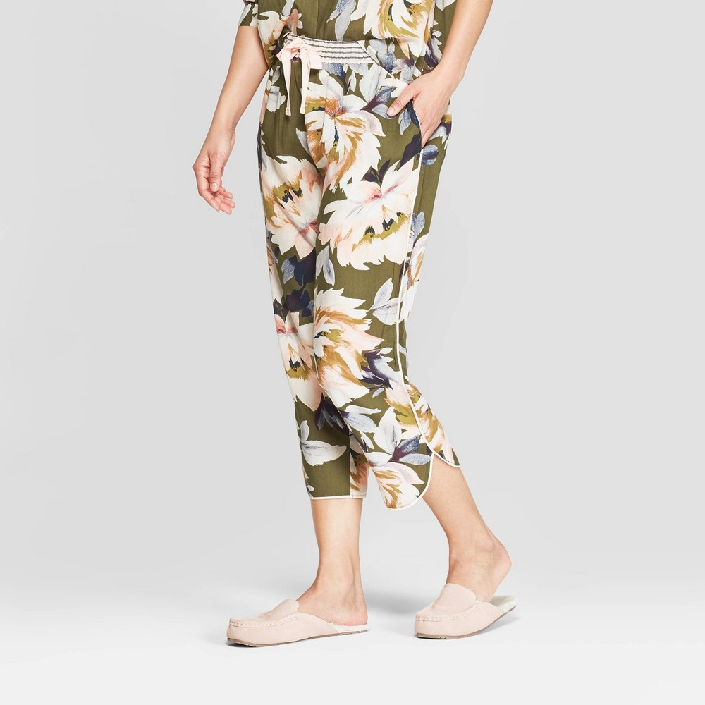 Women's Floral Print Simply Cool Crop Pajama Pants - Stars Above Green XS