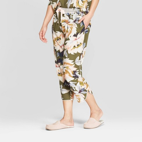 Women's Floral Print Simply Cool Crop Pajama Pants - Stars Above™ Green - image 1 of 3