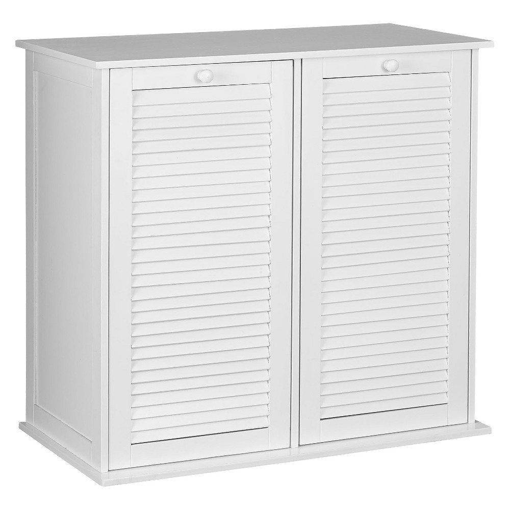 Image of Design Trends Tilt-Out Cabinet Hamper with Shutter Front and Removable Bags - White