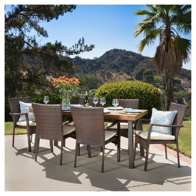 Cordella 7pc Rectangle All-Weather Wicker & Wood Patio Dining Set - Brown/Natural - Christopher Knight Home