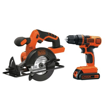 Black & Decker BD2KITCDDCS 20V MAX Brushed Lithium-Ion 3/8 in. Cordless Drill Driver and 5.5 in. Circular Saw Combo Kit (1.5 Ah)