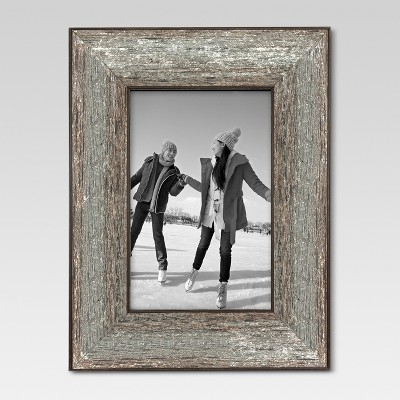 "4"" x 6"" Aged Wood Frame Silver - Threshold™"