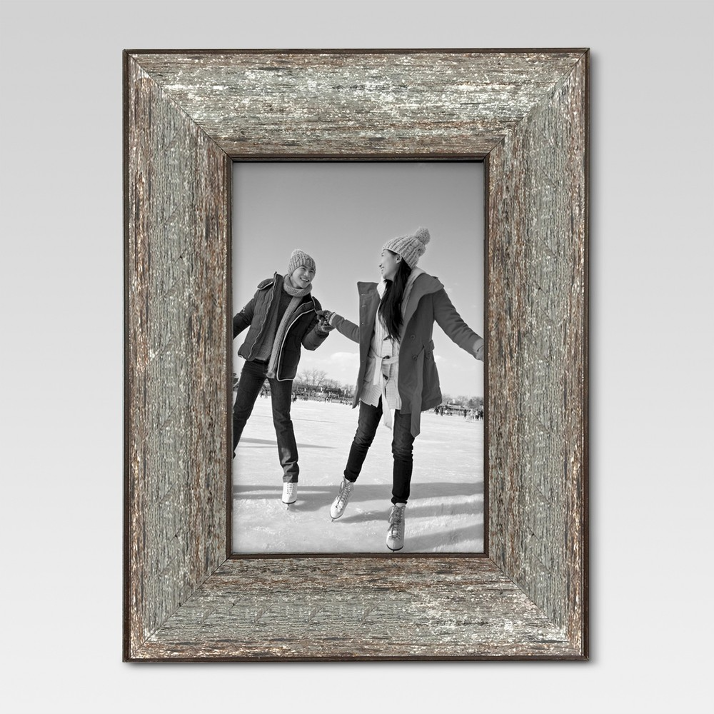 4 34 X 6 34 Aged Wood Frame Silver Threshold 8482