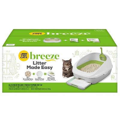 Purina Tidy Cats Litter Box System BREEZE System Starter Kit Litter Box Litter Pellets & Pads