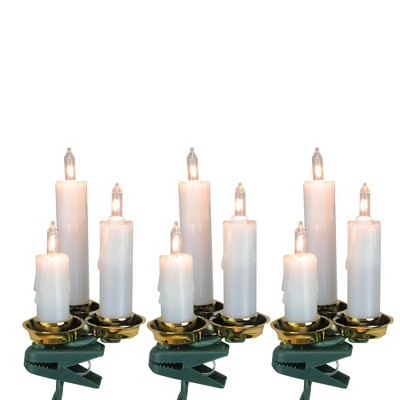 J. Hofert Co 15ct White and Clear Dripping Candle Clip On Christmas Lights - 6.5' Green Wire