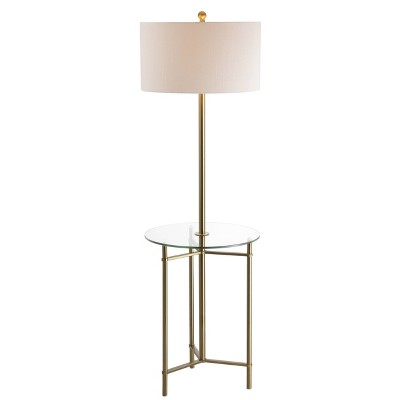 """59"""" Charles Side Table and Floor Lamp (Includes Energy Efficient Light Bulb)Brass - JONATHAN Y"""