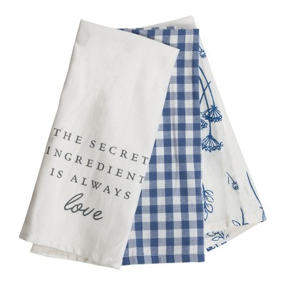 Set of 3 Gingham and Floral Pattern 27 x 18 Inch Woven Kitchen Tea Towels - Foreside Home & Garden