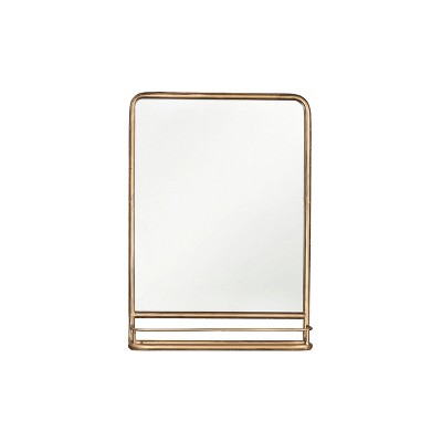 Metal Wall Mirror with Shelf Brass - 3R Studios