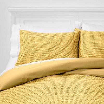 King Washed Waffle Weave Duvet Cover & Sham Set Citron - Threshold™