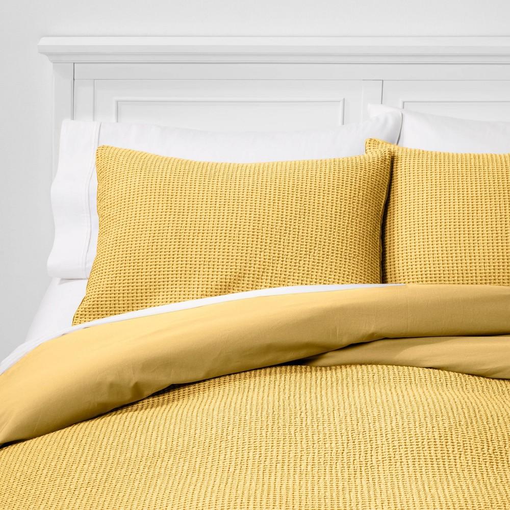 Image of King Washed Waffle Weave Duvet Cover & Sham Set Citron - Threshold
