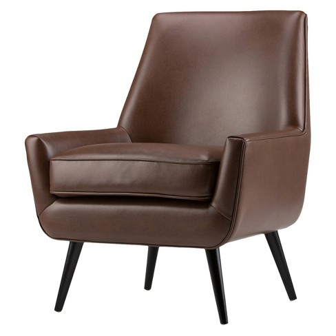 Astounding Carson Mid Century Accent Chair Saddle Brown Faux Air Leather Wyndenhall Creativecarmelina Interior Chair Design Creativecarmelinacom