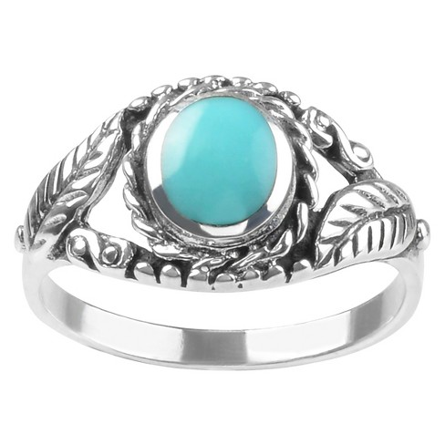 7/8 CT. T.W. Oval-cut Turquoise Leaf Design Bezel Set Ring in Sterling Silver - Blue - image 1 of 2