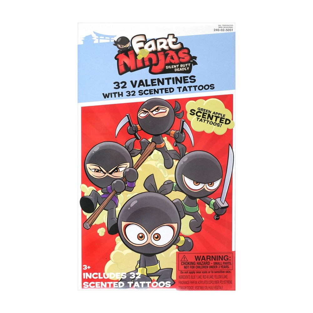 Image of Fart Ninja 32ct Valentines With Scented Tattoos