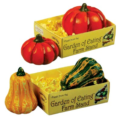 The Queen's Treasures 18 Inch Doll 4 Pc Pumpkins & Gourds in a Paper Crate