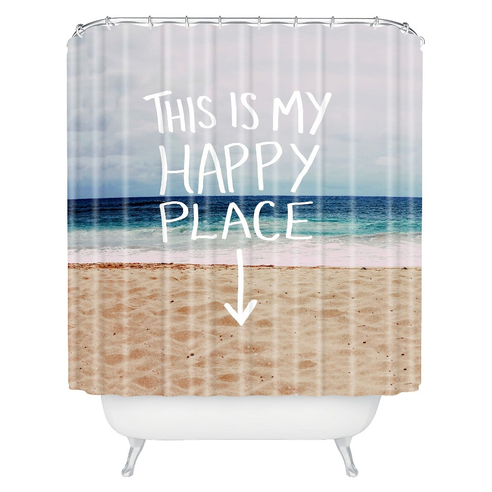 Image of Happy Place Beach Shower Curtain Blue - Deny Designs