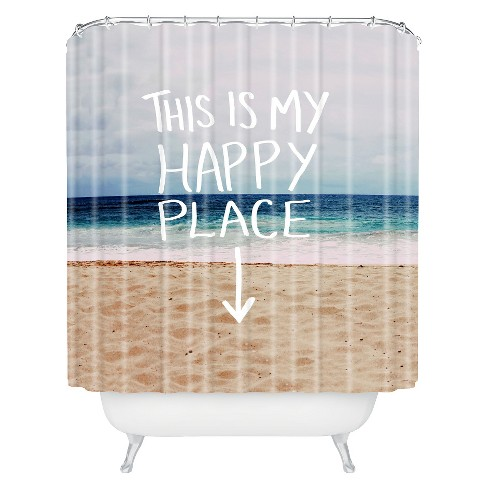 Happy Place Beach Shower Curtain Blue