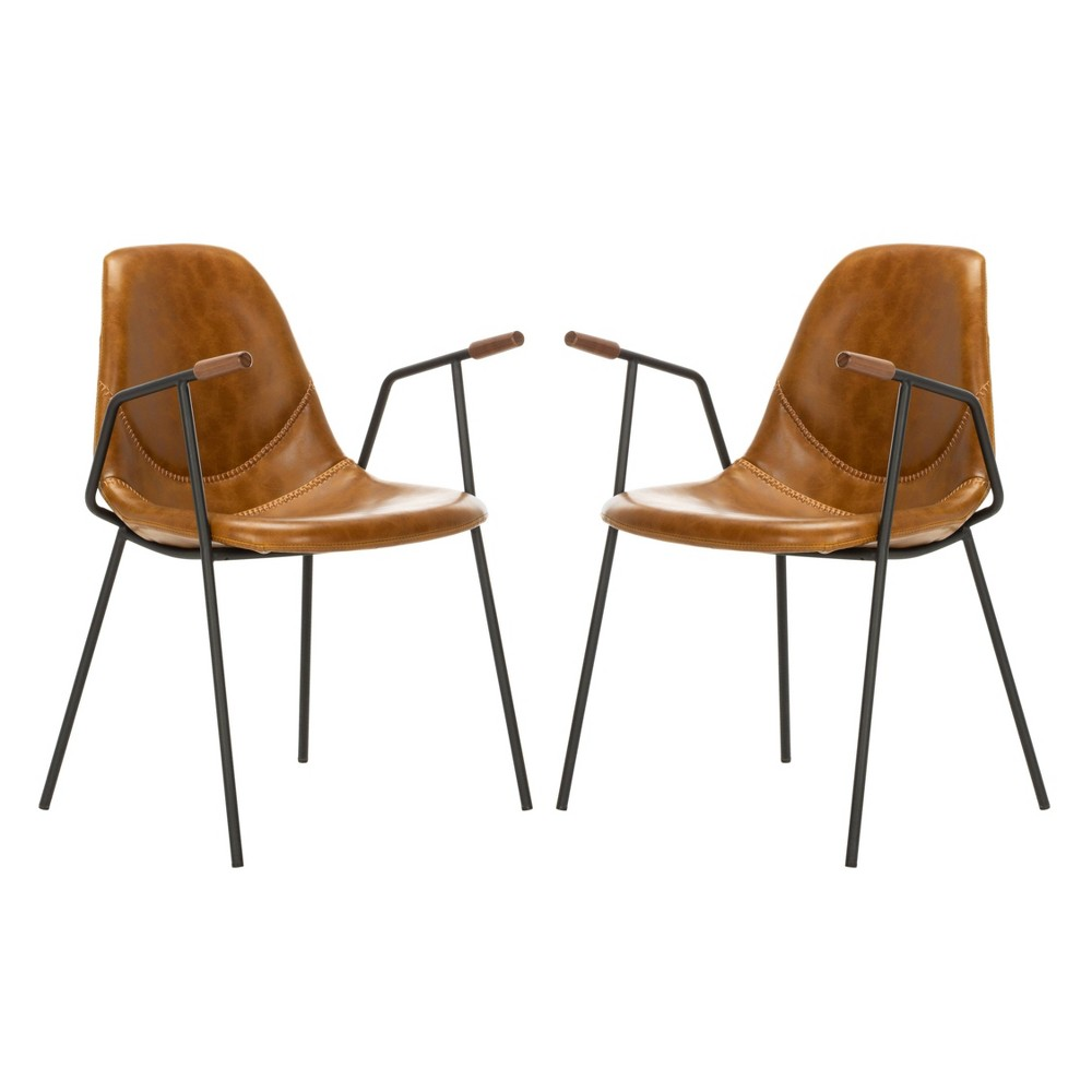 Image of 2pc Tanner Mid Century Dining Chair Cognac - Safavieh