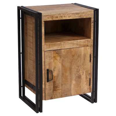 Industrial Reclaimed Wood and Iron 1 Door Accent Table (31.5H x 22W x 16D) Natural - Timbergirl