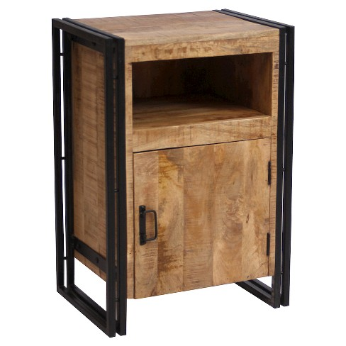 Industrial Reclaimed Wood and Iron 1-door Bedside Table - (31.5H x 22W x 16D) - Natural - Timbergirl - image 1 of 4