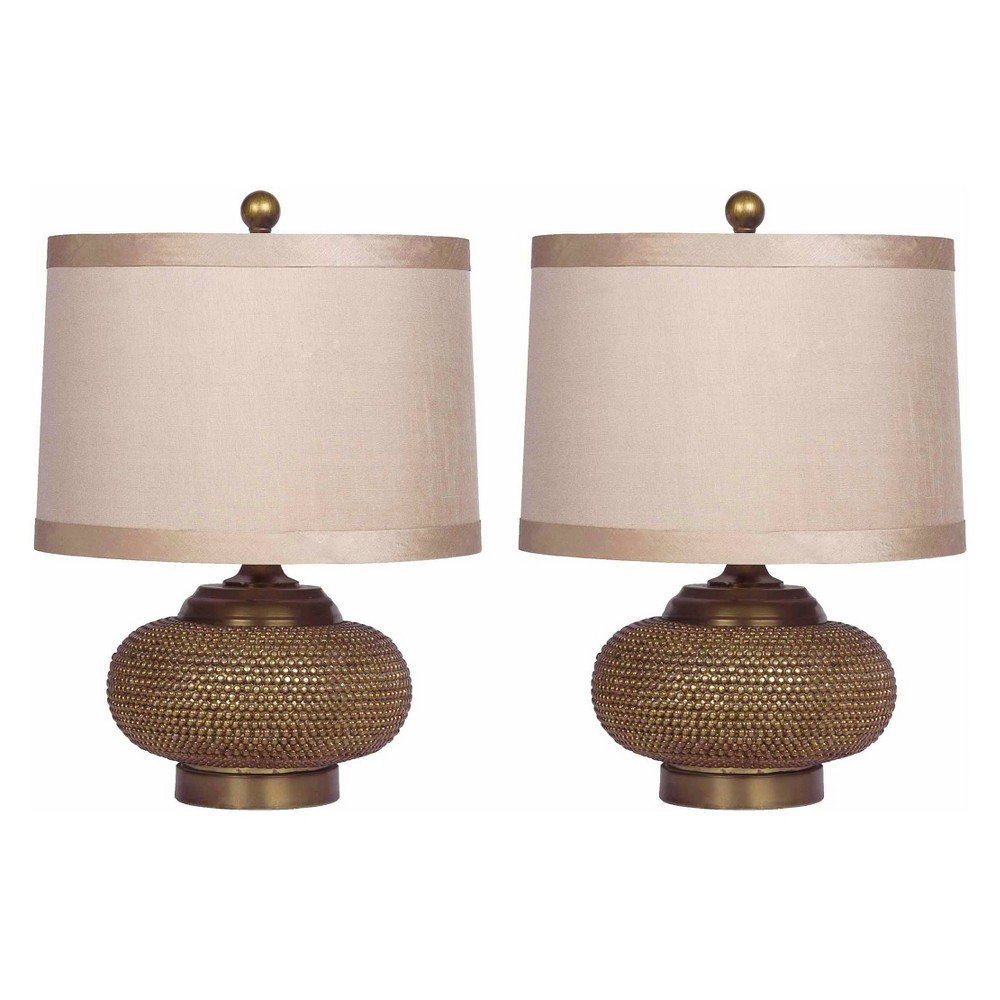 Alexis Set of 2 Beaded Lamps Gold (Lamp Only) - Abbyson Living, Bronze