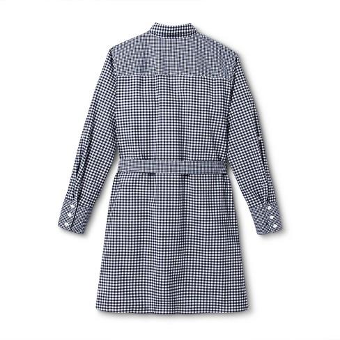 c6082835fe7f47 Women s Plus Size Gingham Long Sleeve Shirtdress - Navy White - vineyard  vines® for Target