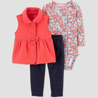 Baby Girls' Floral Quilted Vest Top & Bottom Set - Just One You® made by carter's Pink 12M