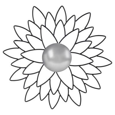 Round Chrysanthemum Decorative Wall Mirror Black - Safavieh®