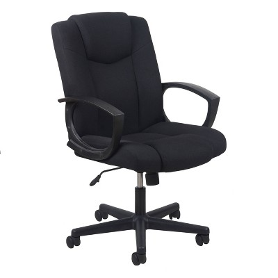 Essentials Collection Mid Back Swivel Upholstered Task Chair Black - OFM