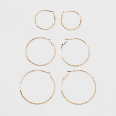Hoop Earrings 3pc - A New Day™ Gold