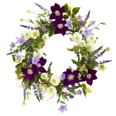 """22"""" Artificial Mixed Flower Wreath Purple/White - Nearly Natural"""