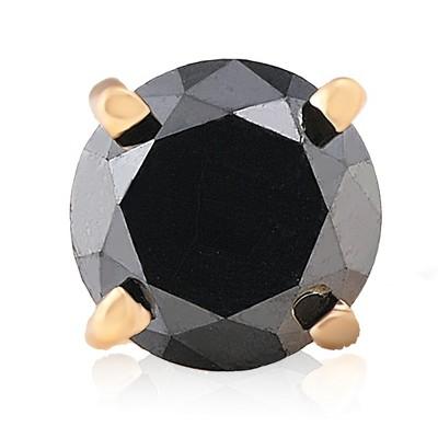 Pompeii3 3/4ct Black Diamond Single Stud Earring 14K Yellow Gold