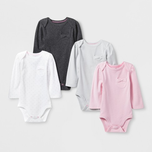 Baby Girls' 4pk Pocket Long Sleeve Bodysuit - Cloud Island™ Pink - image 1 of 1